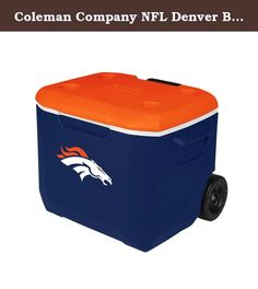 Coleman Company NFL Denver Broncos Performance Cooler, 60 quart, Blue/Orange. Take your spirit of the team with you whenever a cooler is needed. The new, stylish convenience of a Coleman 60 Quart Wheeled Cooler with you to the party-at the tailgate, BBQ or campsite. While your friends revel in the sleek new look, you'll enjoy the added improvements that better fit your lifestyle. The redesigned 60-quart cooler is tall enough to hold 2-liter bottles upright and large enough to hold up to…
