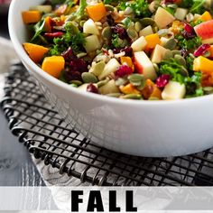 Fall Harvest Salad with Apple Cider Vinaigrette Recipe Salads with salad, wild rice, butternut squash, olive oil, kale, apples, dried cherry, pepitas, salt, black pepper, dressing, apple cider, apple cider vinegar, olive oil, dijon mustard, salt, pepper, garlic powder