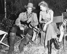 Gary Cooper and Mari Aldon (1951).  Photo of: Cooper and Aldon, the stars of Distant Drums, during filming at Silver Springs, Florida.  The film (directed by Raoul Walsh and released by Warner Brothers) was set in the Everglades in the 1840s, during the Second Seminole War.