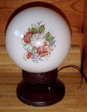 Vintage Mid Century Ceiling Glass Globe Victorian Rose Flowers Light Fixture