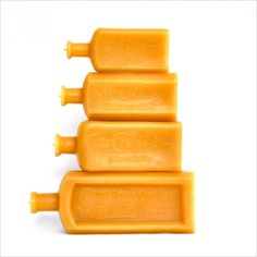 Beeswax Candles: Amber Bottle Collection, Vintage Script Type