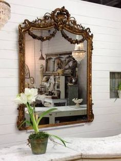 Large 19th Century Antique French Gilt Ornate Mirror - $4,250