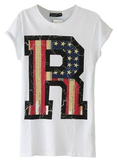 White Short Sleeve Flag R Print T-Shirt - Sheinside.com