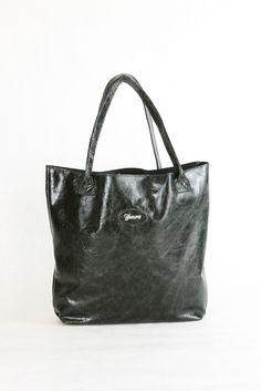 Black Patent Leather Large Tote Bag