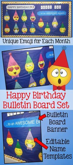 CELEBRATE your students' birthdays with this adorable display! -2 different emoji faces for each month of the year. The name of the month is printed in their bowties (super cute!) -12 coordinating birthday hats. -Bulletin Board banners in text message tem