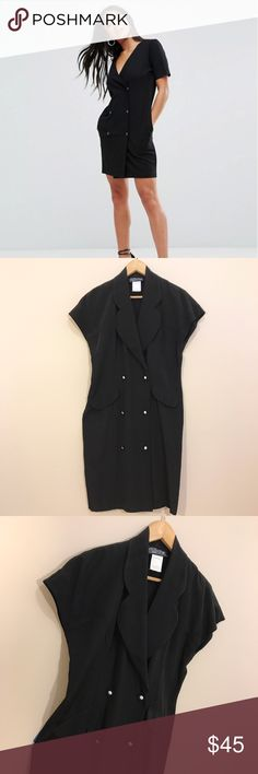 Vintage Tuxedo Dress Super Classy and fitted Black Vintage Tuxedo Dress with white buttons. The dress is a size 7 and will fit someone who's a size 6. Thanks for taking a peep Dresses Mini