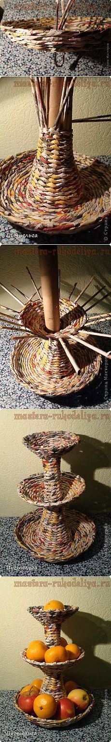 There are a lot of great weaving projects on this site. Newspaper Basket, Newspaper Crafts, Cardboard Furniture, Cardboard Crafts, Willow Weaving, Basket Weaving, Diy Paper, Paper Art, Magazine Crafts