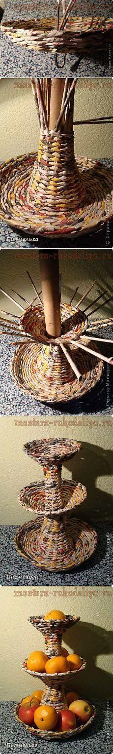 Мастера рукоделия - рукоделие для дома. Бесплатные мастер-классы, фото и видео уроки - Мастер-класс по плетению из газет: Фруктовница