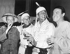 Bing Crosby, Frank Sinatra, Dean Martin, and Bob Hope on the set of The Road to Hong Kong, 1961