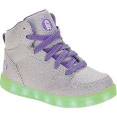Flashlight Girls Rechargeable Color Changing Light Up LED Athletic Shoe, Silver