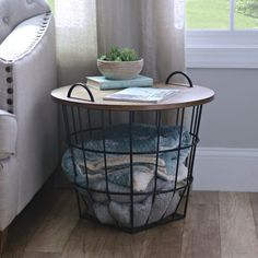 Industrial Wire and Wood Basket Side Table | Kirklands