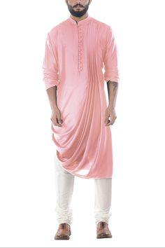 Online Fashion Store| Designer Clothing -Smritiapparels.com. Carnation Pink Cowl Drape Kurta With Churidar Pants