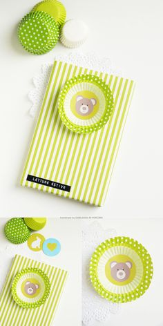 stripes wrapping paper + paper rosette made with cupcake baking cases + little bear designed by Ghirlanda di Popcorn
