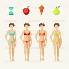 weibliche Körperformen - vier Arten - Stockilllustration: 44405193