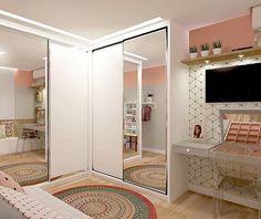 43 Amazing TV Wall Decor Ideas for Living Room Bedroom Closet Design, Girl Bedroom Designs, Girls Bedroom, Interior Design Living Room, Bedroom Decor, Bedroom Wall, Kitchen Interior, Bedrooms, Tv Wall Decor