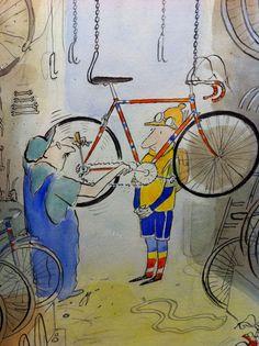 Réparateur vélo cycliste - Sempé