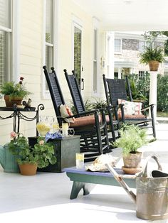 Southern Summers: While away a hot summer afternoon relaxing and rocking on the front porch. A line of rockers beckons with promises of cold iced tea and warm conversation with friends.