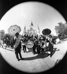 Brass band in Jackson Square in front of St. Louis Cathedral - New Orleans