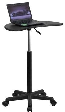 Height Adjustable Mobile Laptop Computer Desk with Black Top contemporary-outdoor-products