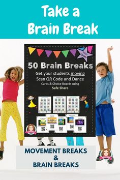 Gross Motor, Dance or Just for fun 50 Brain Breaks Song and Dance Cards with QR codes allow flexible use from individual to whole class. All In SafeShare, these link to the most popular Brain Break Dances/Songs enabling a range of uses in the classroom: Individual Brain Break on an ipod touch (Scan QR Code and Dance); Small Group Brain Break around an ipad (Scan and Dance); Whole Class Brain Break on ActivBoard ). #brain #break #brainbreaks #tpt #sarahanne #dance #movement #breaks #chicka #boom Beginning Of The School Year, Back To School, Fourth Grade, Third Grade, Creative Teaching, Teaching Ideas, Reading Comprehension Activities, First Year Teachers, Dance Movement