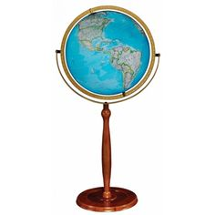 National Geographic Chamberlin globe features a illuminated raised-relief,  blue ocean globe ball mounted on a full swing meridian with pedestal wood  stand.