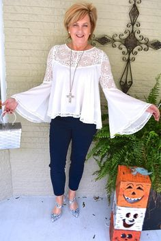 50 IS NOT OLD | BREAST CANCER AWARENESS | Lace | Bell Sleeve | Fashion over 40 for the everyday woman