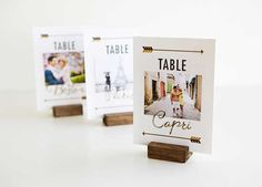 Travel-themed wedding reception table cards (via Wedding Paper Divas). Wedding Photo Table, Wedding Table Themes, Card Table Wedding, Wedding Reception Tables, Wedding Table Numbers, Wedding Cards, Wedding Decorations, Table Decorations, Centerpiece Ideas