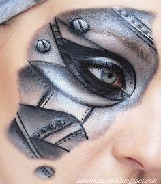 Karolina Zientek Makeup Blog: I'm a robot - charakteryzacja krok po kroku Male Makeup, Sfx Makeup, Costume Makeup, Makeup Art, Cyborg Costume, Robot Makeup, Helloween Make Up, Steampunk Makeup, Robot Costumes
