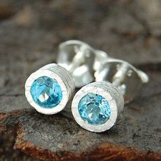 Blue Topaz Stud Earrings ♥