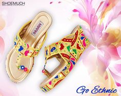 Life's too short to wear boring shoes! Buy this elegant pair of Women Wedges only at #ShoeMuch.   #WomenFootwear #Ethnic #Multicolor