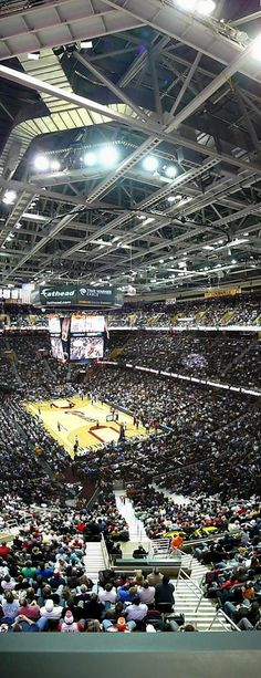 Vertical panoramic of the Quicken Loans Arena aka the 'Q' in Cleveland Ohio