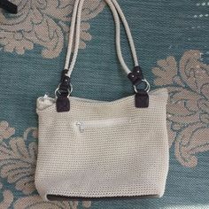 """Croft & Barrow shoulder purse Lovely cream color crochet lined purse from Croft & Barrow.  Like new on outside, has a couple of pencil marks on inside lining.  Very minor. Strap drop is about 14"""".  13"""" W x 11"""" H x 4""""Deep.  Faux leather bottom. Croft & Barrow Bags Shoulder Bags"""