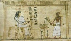 ibation and incensing in front of a deceased person (Book of the Dead, Turin, Egyptian Museum