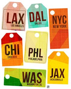 Destination Tag USA, art print by thepairabirds, via Etsy. Destination Tag USA is a digital illustration of travel tags from major American cities.