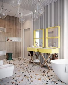 Hipsters, throw out your reclaimed wood - terrazzo. - Hipsters, throw out your reclaimed wood - terrazzo. Childrens Bathroom, Interior, Terrazzo, Modern Bathroom Design, Bathroom Interior, Bathroom Renovations, Bathroom Flooring, Bathroom Decor, Modern Bathroom Tile