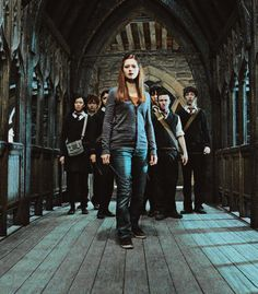 This is how I always imagine the situation in Hogwarts in the 7th book: while Harry is away, Ginny is the leader of the DA (after all, she's the one who taught Harry how to be a team captain). And by the time battle of Hogwarts broke over, it was an army for Harry as well.