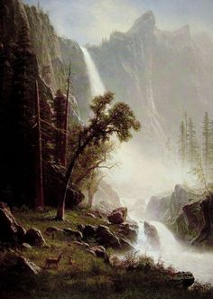Bridal Veil Falls, Yosemite by Albert Bierstadt - Oil Paintings Reproductions From $119.00 at OilPaintings.com