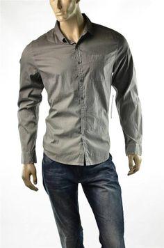 Calvin Klein Shirt Mens Button-up Gray Casual 1 Pocket Shirts SZ L Large NWT #CalvinKlein #ButtonFront #5Gables