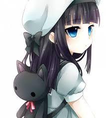 anime girl black hair blue eyes blue hat blue dress black cat bow