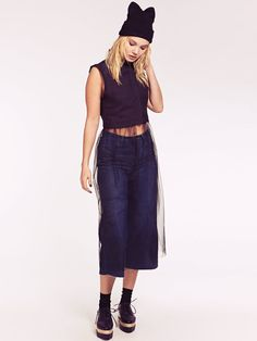 Nancy Black Crop Sleeveless Collared Blouse with Long Mesh Skirt Mesh Skirt, Collars, Blouse, Skirts, Pants, Black, Fashion, Trouser Pants, Moda