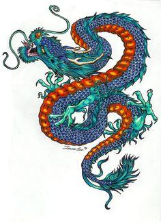 Dragon Tattoo Colour, Dragon Tattoo Designs, Blue Dragon Tattoo, Butterfly Tattoos For Women, Dragon Tattoo For Women, Tattoo Oriental, Arrow Tattoo, Dragon Illustration, Japanese Dragon Tattoos