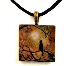 Black Cat Necklace Wiccan Tree Full Moon Moonlight Moss Wood Pagan Halloween Pendant Art Boho Bohemian Handmade Jewelry Clearance Sale