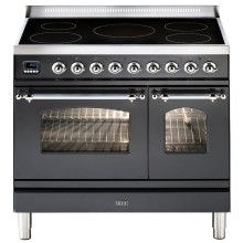 ILVE Milano 90cm Twin Range Cooker 5 Zone Induction Matt Black Chrome - PDNI90E3/MX