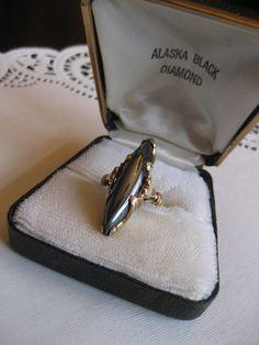1950s  10k Black Alaskan Diamond Ring  by EveryPicTellsAStory