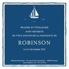Faire-part de naissance(baby announcement): Petit bateau - by Louise Pianetti pour http://www.fairepartnaissance.fr #naissance #fairepart #birth