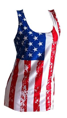 USA Flag Tank Top For Women  Fitted  American by EverythingExpress, $16.95