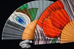 Beautifull fans hand painted on natural silk in our workshop in Barcelona