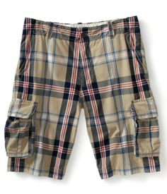 aeropostale mens tundra plaid authentic cargo shorts