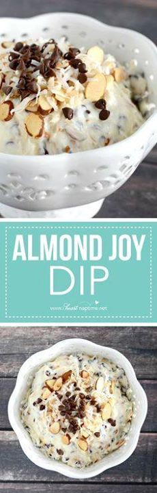 Almond Joy Dip  Almond Joy Dip  this yummy dip is ready...  Almond Joy Dip  Almond Joy Dip  this yummy dip is ready in just minutes and tastes fabulous with fruit crackers or pretzels. Such a yummy snack! Recipe : http://ift.tt/1hGiZgA And @ItsNutella  http://ift.tt/2v8iUYW