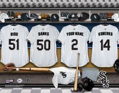Chicago White Sox MLB Baseball - Personalized Locker Room Print / Picture. Have you or someone you know ever dreamed about playing next to your favorite Chicago White Sox players. You or someone you know can be right there in the locker room with Chicago White Sox players! Optional framing with mat is available. Perfect for gifts, rec room, man cave, office, child's room, etc.  (http://www.oakhousesportsprints.com/chicago-white-sox-locker-room-print/)